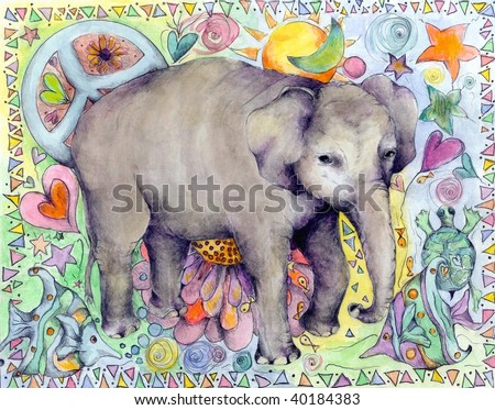 Whimsical watercolor and graphite elephant illustration