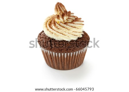 whipped cream chocolate cupcake on white background