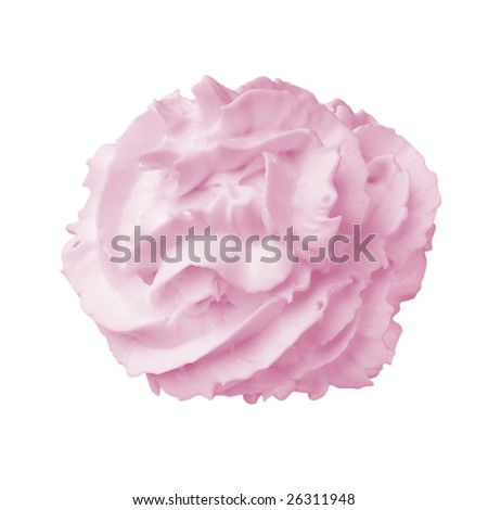 Whipped cream isolated on white background