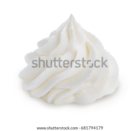 Whipped cream isolated on white background with clipping path.