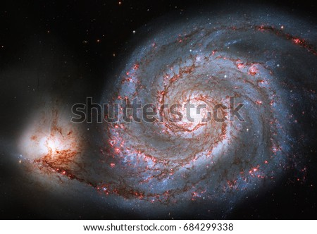 Whirlpool Galaxy. Spiral galaxy M51 or NGC 5194\rElements of this image are furnished by NASA.