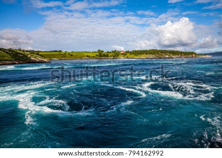 Photo of  Whirlpools of the maelstrom of Saltstraumen, Nordland, Norway