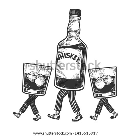 Whiskey alcohol bottle with ice and glasses walks on its feet sketch engraving raster illustration. Scratch board style imitation. Black and white hand drawn image.
