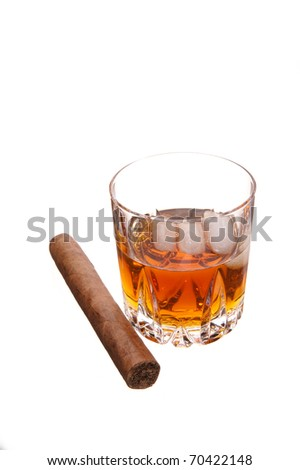 whiskey and cigar on white