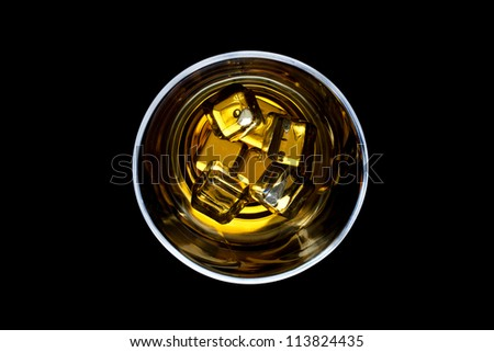whiskey and ice in the glass, whiskey