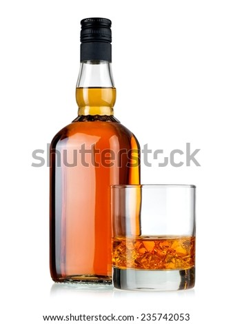 Whiskey bottle and a glass #235742053