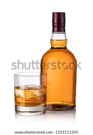 whiskey bottle and glass isolated on white background #1319115245