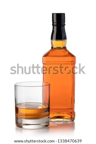 whiskey bottle and glass isolated on white background #1338470639