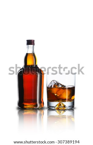 Whiskey Bottle and Glass With Ice Cubes #307389194