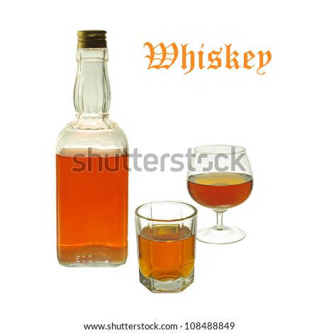 Whiskey bottle and two glasses. Isolated on white background #108488849