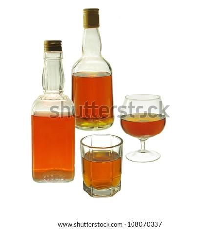 Whiskey Bottles and Glasses. Isolated on white background #108070337
