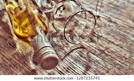 Whiskey, brandy, brandy. Luxury alcohol in a bottle and glasses on a stone background. Valentine's Day, Date #1287235741