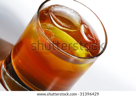 Whiskey Cocktail with Lemon Slice