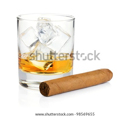 Whiskey glass and cigar. Isolated on white background
