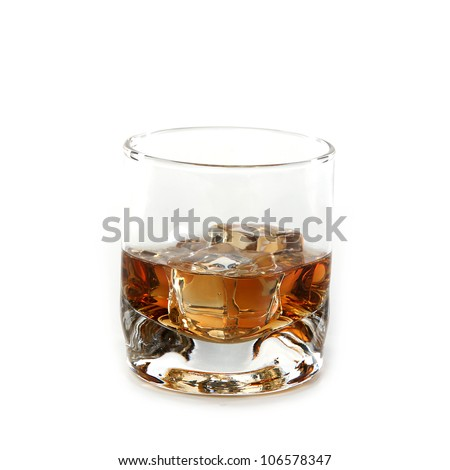 Whiskey glass. Isolated on white #106578347