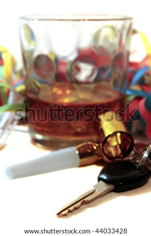 whiskey glass with car keys on white background depicting drunk driving and addictions can kill