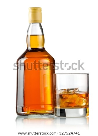 Whiskey glass with ice and a bottle #327524741