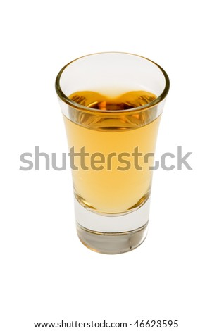 Whiskey neat in shot glass on white background