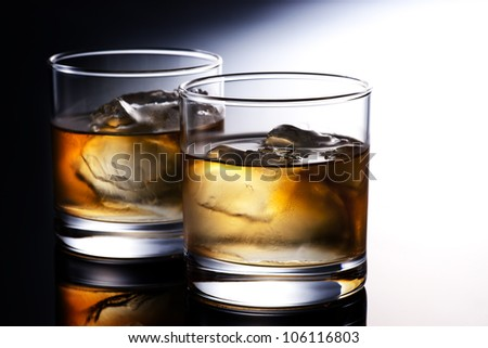 whiskey on black background