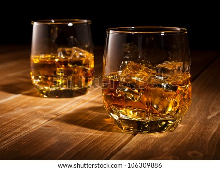 Whiskey on the rocks.