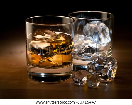 whiskey on the rocks and an empty glass with ice cubes