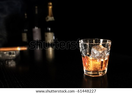 whiskey on the rocks at the bar