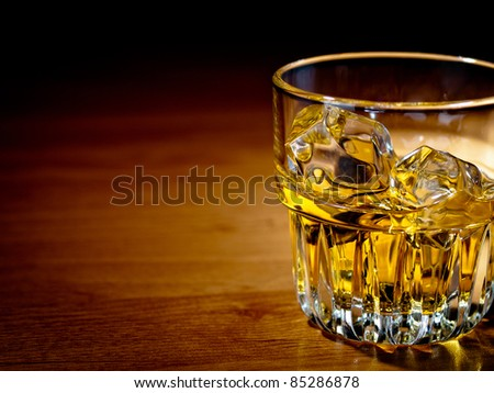 Whiskey on the rocks in an old fashion glass