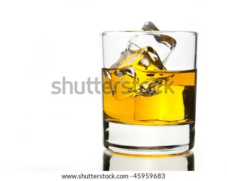 Whiskey on the rocks on white
