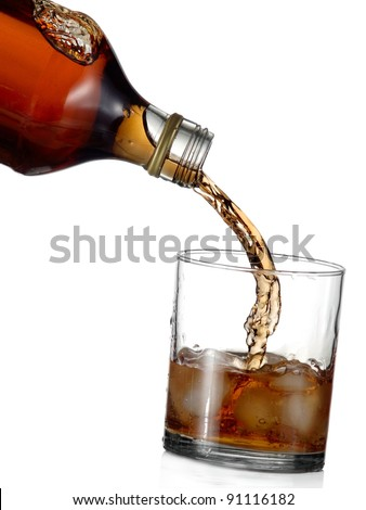 Whiskey pouring into a glass