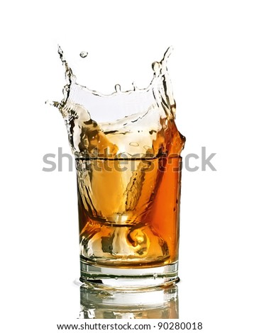 Whiskey splash in a glass, isolated, white background