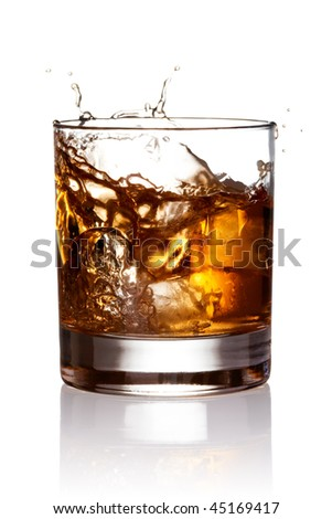 Whiskey splash. With clipping path