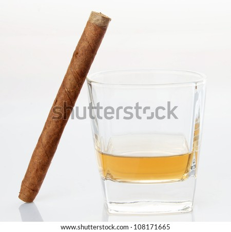Whiskey with  and cigar, isolated on white background