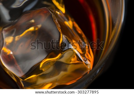 Whiskey With Ice Cubes #303277895