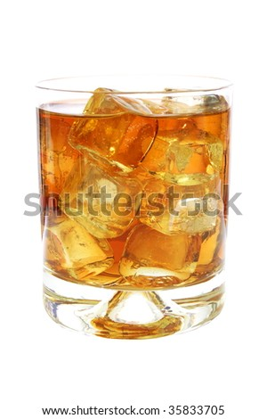 whisky or cola drink isolated on white background