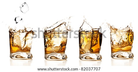 whisky splash collection isolated on a white background