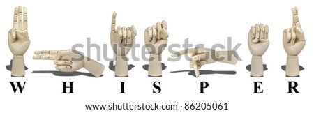 Whisper spelled in American Sign language and is expressed with visible hand gestures for communication of the deaf