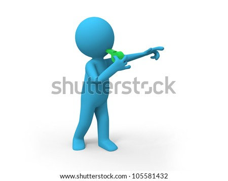 whistle/A man is blowing the whistle