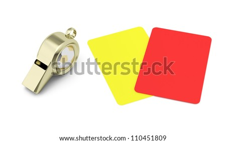 whistle and red and yellow cards isolated on white background. football refereeing concept. 3d render