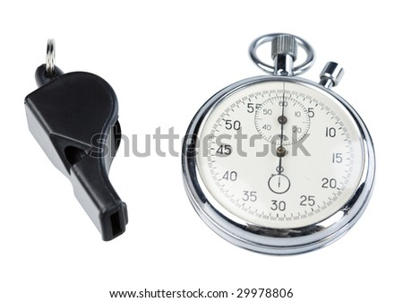 Whistle and stopwatch isolated on white. Clipping paths