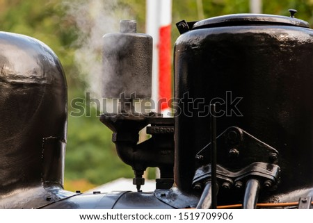 Whistle of a steam locomotive with white steam, Steam Locomotive, white steam #1519709906