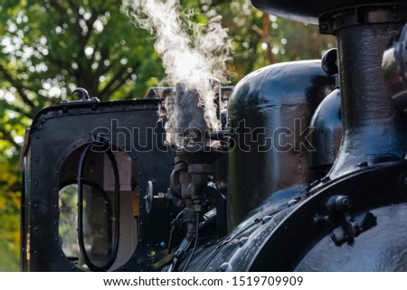 Whistle of a steam locomotive with white steam, Steam Locomotive, white steam #1519709909