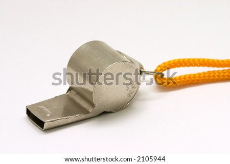 Whistle with yellow string