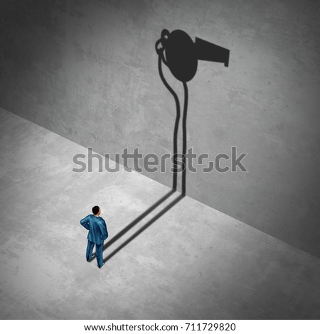 Whistleblower employee or whistle blower concept as a symbol of a secret agent as an informant with his cast shadow of a whistle as a metaphor for inside information with 3D illustration elements Stock photo ©