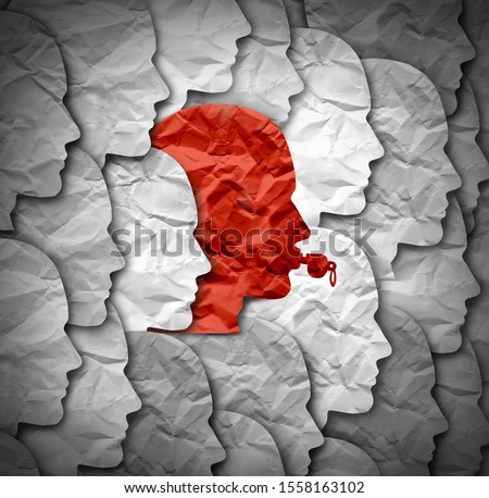 Whistleblower identity concept and whistle blower symbol representing a person in government and society or a company exposing corruption and bribery as a human head in a 3D illustration style. Stock photo ©