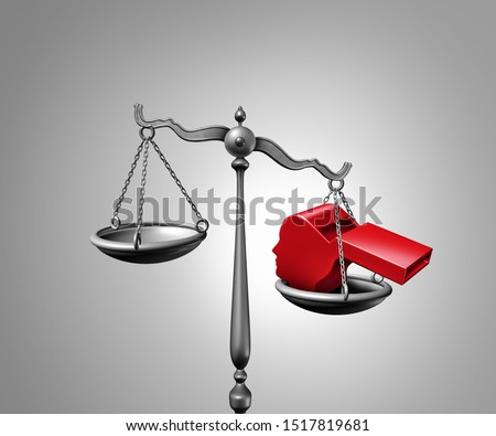 Whistleblower law or anonymous whistle blower justice concept as a symbol of exposing corruption or misconduct and impeachment inquiry with a red whistling object shaped as a 3D illustration. Stock photo ©