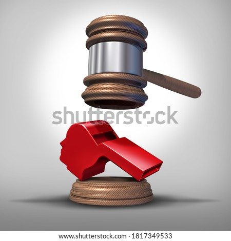 Whistleblower laws or anonymous whistle blower justice concept as a symbol of exposing corruption or misconduct in the workplace with a red whistling object shaped as a human head as a 3D render. Stock photo ©