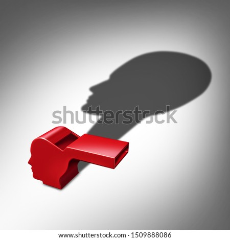Whistleblower or whistle blower exposing information concept as a symbol of a secret informer agent or employee leaker with a cast shadow as a metaphor for inside info as a 3D illustration. Stock photo ©