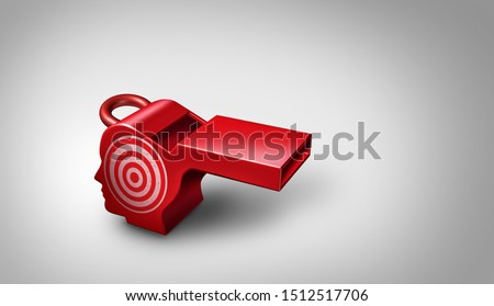 Whistleblower target and whistle blower corruption and as a red whistle shaped as a human head as a 3D illustration. Stock photo ©