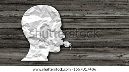 Whistleblower whistle blower concept as a symbol representing a person exposing corruption as a whistle shaped as a human head in a 3D illustration style. Stock photo ©