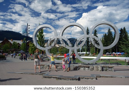 WHISTLER, BC - JULY 24: Noise complaints persist over Olympic Plaza in Whistler BC on July 24, 2013. Whistler was the site of the 2010 Winter Olympic alpine events. #150385352